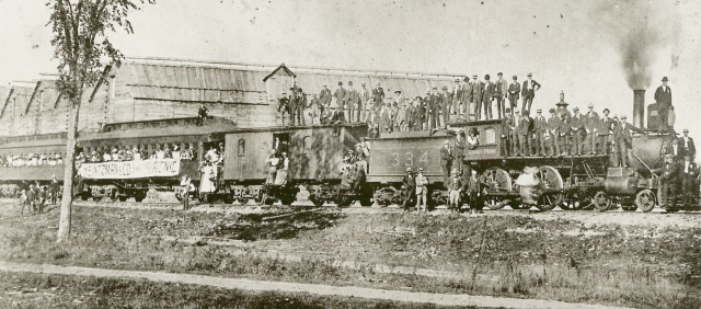 6-090: Heintzman & Co. employees picnic date 1890s or early 1900s Panoramic view of employees posed on Grand Trunk passenger train; Grand Trunk 4-4-0 locomotive no. 334 photographer unknown source Ontario Archives 13917-11 'date acquired' 1980s