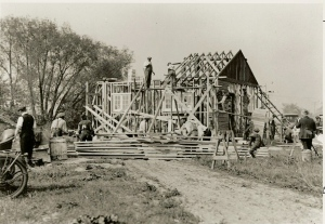 6-110: Bungalow built in a day - publicity stunt in 1921 by A. E. LePage in which people were invited to to the new subdivision to watch tradesman build the house complete with finished basement, Georgia pine floors, plumbing and electrical fixtures. A newsreel of the publicity stunt was shown in movie theatres across North America. It was built on the subdivided Rowntree Estate north of St. Clair Ave. W., east of Old Weston Road. It was auctioned at dusk for $2,975. (See May/June 1989 Leader & Recorder p. 8.) photographer ? source City of Toronto Archives SC 244 32 30 'date acquired' 1989
